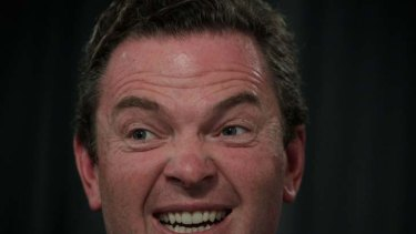 Christopher Pyne  ... used Obama's visit to score points about a Rudd challenge.
