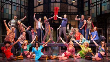 The cast during a performance of the musical Kinky Boots.