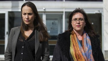 Greenpeace activists Jessica Latona and Heather McCabe leaving the Supreme Court in August.