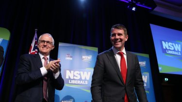Prime Minister Malcolm Turnbull and NSW Premier Mike Baird at the NSW Liberal Party state conference at Sydney's Four Seasons Hotel on Saturday.