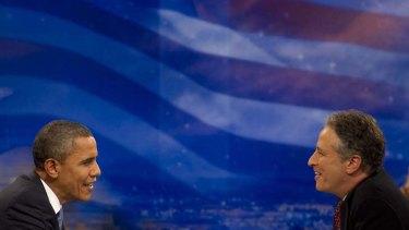 ''He's holding people accountable'' … Jon Stewart interviews the US President, Barack Obama.