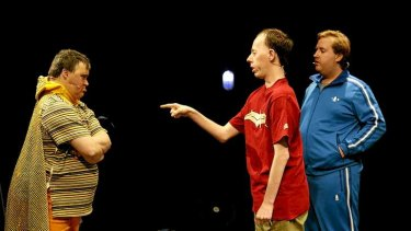 Mark Deans, Simon Laherty and Brian Tilley in Back to Back Theatre's <i>Super Discount</i>.