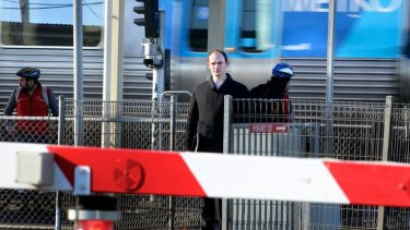 Gregory Currie at Hoppers Crossing railway station, where he was fined for walking through open crossing gates.