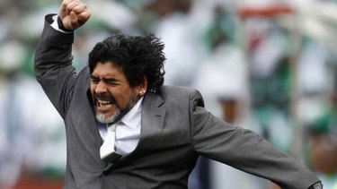 Diego Maradona celebrates his team's goal against Nigeria.