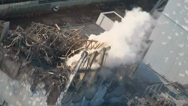 Thick smoke billows from the No. 3 reactor of the Fukushima Daiichi nuclear power plant.