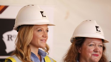 Gina and Ginia Rinehart at the ceremony marking the first shipment of iron ore from Roy Hill Mine at Port Hedland.