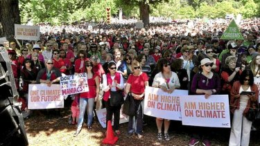 Thousands attend a climate change rally at Treasury Gardens.