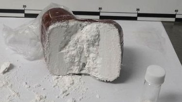 One of the bars of soap alleged to have been used to import cocaine.