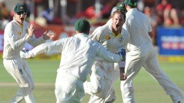 Ryan Harris celebrates taking the final wicket.