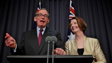 Happier times: Then Prime Minister Julia Gillard announces former NSW premier Bob Carr as her foreign minister in March 2012. Mr Carr switched his allegiance to Kevin Rudd before the 2013 federal election.