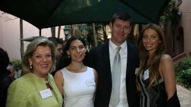Smile: James Packer, flanked by sister Gretel, and mother Ros at an earlier, happy, engagement with a Herald photographer.