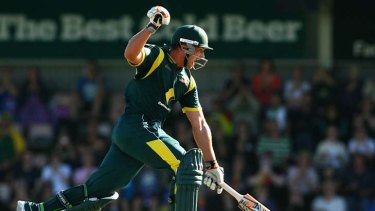 Jump for joy ... Peter Forrest notches up his first ODI century for Australia.