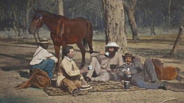 Midday camp, 1864-70. Albumen photograph overpainted with oils, Queensland Museum, Brisbane.