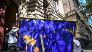 The painting Big Blue Lavender Bay is taken from court.
