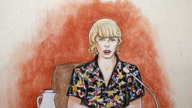 In this courtroom sketch, pop singer Taylor Swift testifies with clarity, strength and resistance.