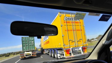 Driving along one of Melbourne's truck-laden freeways yesterday: not for the faint-hearted or the claustrophobic.
