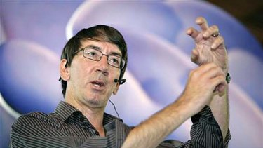 Game designer Will Wright speaks about SPORE at a promotion event in Singapore August 13, 2008.