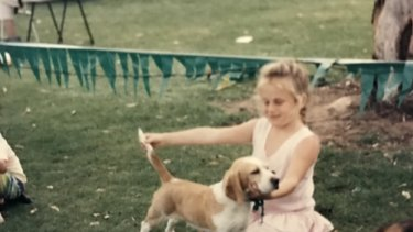 Wilson at a dog show as a child.