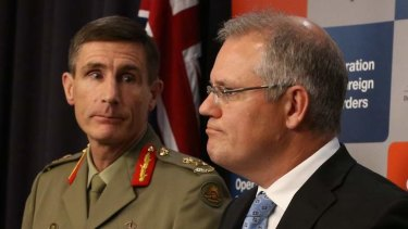 Lieutenant-General Angus Campbell and Immigration minister Scott Morrison during and Operation Sovereign Borders briefing in Canberra.