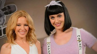 Queens of pop: Kylie Minougue, pictured with special guest Katy Perry.
