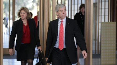 Nick Warner, director-general of the Australian Secret Intelligence Service, on his way to making a public address, the first by a director-general in the organisation's 60-year history, in Canberra today.