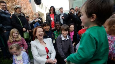 Prime Minister Julia Gillard  meets   mothers and children to mark the introduction of climate legislation into Parliament.