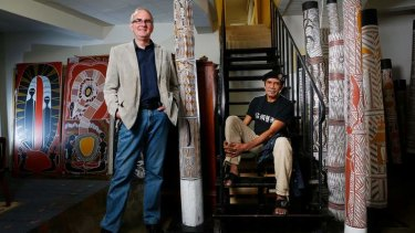 Art collector Hans Sip, left, with indigenous artist Billy Doolan. Sip has more than 120 mainly Aboriginal artworks.