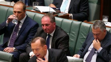 Agriculture Minister Barnaby Joyce during question time on Monday.