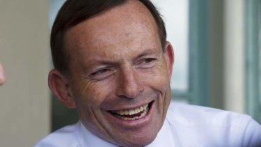 Selling the budget: Tony Abbott in Sydney today.
