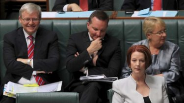 Foreign Affairs Minister Kevin Rudd and Prime Minister Julia Gillard during question time.