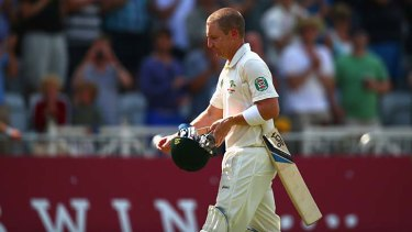 An obviously dejected Brad Haddin wends his way back to the dressing rooms.