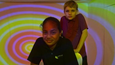 Engaged: Year 7 students Shakira Timothy and Nathan Simpson rehearse for a performance at the Frankston Arts Centre.