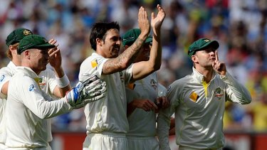 Silence please: The Australians send a message to The Barmy Army after Mitchell Johnson dismissed Johnny Bairstow.