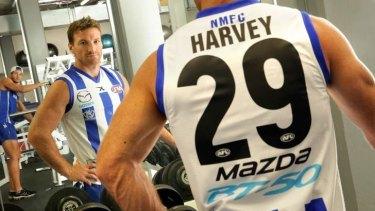 Name game: Kangaroo Brent Harvey in a trial jumper.