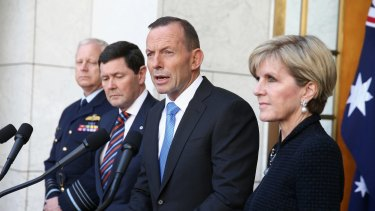 Chief of the Defence Force Mark Binskin, Defence Minister Kevin Andrews, Prime Minister Tony Abbott and Foreign  Minister Julie Bishop during a joint press conference at Parliament House.