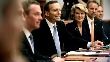 Prime Minister Tony Abbott holds the first cabinet meeting.