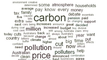 A word cloud highlighting the most commonly used words in Julia Gillard's address to the nation last night.