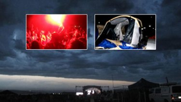 Facebook users have posted photos from the storm-stricken concert, showing (main) the front moving in, (inset left) angry fans and (inset right) a damaged tent.