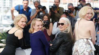 Actresses Nicole Kidman, from left, Elisabeth Moss, director Jane Campion and actress Gwendoline Christie pose for photographers during the photo call for the film