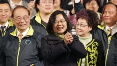 Taiwan's Democratic Progressive Party, DPP, presidential candidate Tsai Ing-wen waves as she celebrates winning the presidential election on January 16.