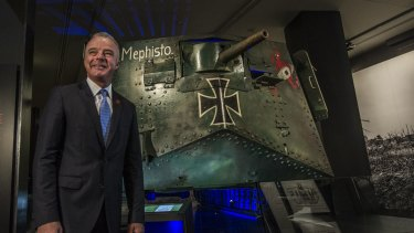 Dr Brendan Nelson, director of the Australian War Memorial, looks at the rare German tank Mephisto now on display at the Australian War Memorial.