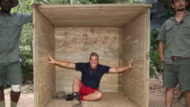 Back in your box ... Shane Warne on set of TV show I'm a Celebrity Get Me Out Of Here.