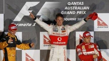 Jenson Button celebrates winning the Australian grand prix.