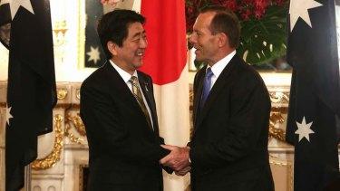 All smiles: Japanese Prime Minister Shinzo Abe with Tony Abbott in Tokyo.