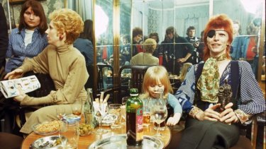 David Bowie with wife Angie and son Zowie Bowie (Duncan Jones)  in Amsterdam in February 1974.