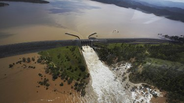 The Wivenhoe Dam during the January 2011 floods.