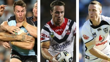 Mr Consistency: James Maloney in Sharks, Roosters and Warriors colours.