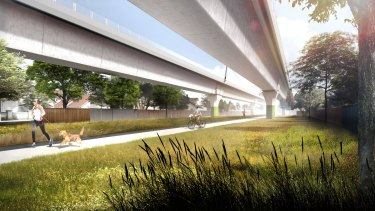 An artist's impression of the elevated rail line as it passes through Murrumbeena.