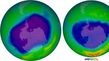 Big hole... left, a September 2006 compiled satellite image shows the ozone hole over Antarctica at its largest - 27.4 million square kilometres. Smaller hole... right, a September 2009 image showing the ozone hole has decreased to 25 million square kilometres.