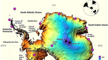 A topographical map of the locations of planned observatories in Antarctica including the recently discovered Ridge A.